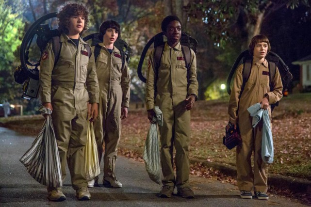 Gaten Matarazzo, Finn Wolfhard, Caleb McLaughlin et Noah Schnapp... (PHOTO FOURNIE PAR NETFLIX, ASSOCIATED PRESS)