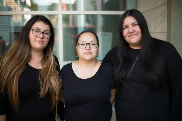 Eruoma Awashish, Jani Bellefleur-Kaltush et Meky Ottawa.... (Crédit photo: Bernard Fougères/ONF)
