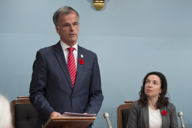 Le député Guy Ouellette a prononcé une allocution... (Photo Jacques Boissinot, PC)