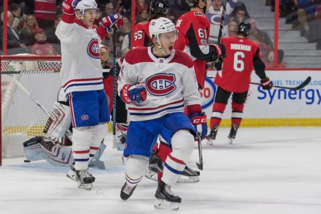 Lundi soir, à Ottawa, Charles Hudon a inscrit... (PhotoMarc DesRosiers, USA TODAY Sports)