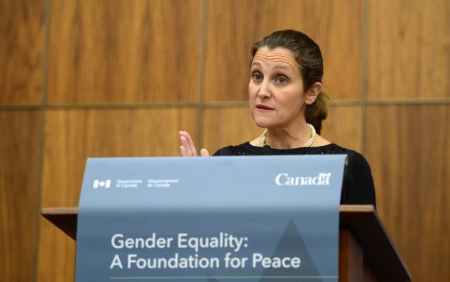 La ministre des Affaires étrangères Chrystia Freeland a... (PHOTO Sean Kilpatrick, LA PRESSE CANADIENNE)