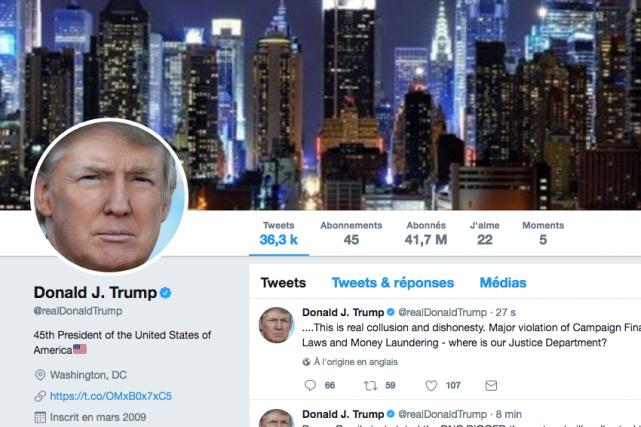 Le président américain Donald Trump n'a pas à... (CAPTURE D'ÉCRAN TWITTER)