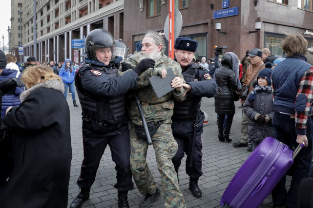 La police a annoncé l'arrestation de 263 personnes... (Photo Tatyana Makeyeva, Reuters)