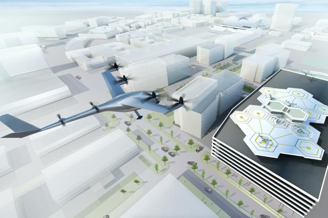 Une représentation d'un autoaéroport Uber Elevate. Image: Uber,...