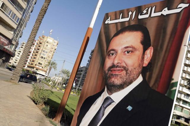 Une affiche du premier ministre libanais Saad Hariri... (PHOTO JOSEPH EID, AGENCE FRANCE-PRESSE)