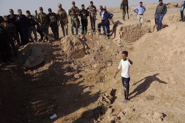 Les forces irakiennes ont décopuvert un charnierprès de... (Photo Marwan IBRAHIM, AFP)