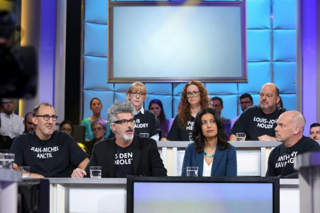 Martin Petit, Réal Béland, Dominique Anglade et Maxim... (PHOTO KARINE DUFOUR, FOURNIE PAR ICI RADIO-CANADA)