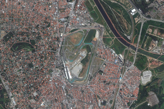 Le circuit d'Interlagos, au Sud de Sao Paulo,... (Photo: Google Maps)