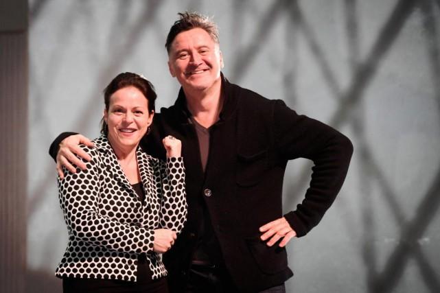 Les comédiens Maude Guérin et François Papineau se... (Photo Bernard Brault, La Presse)