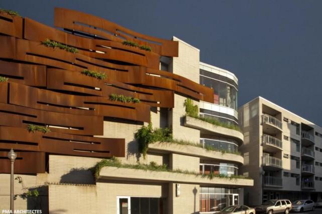 Stationnement étagé de l'immeuble La falaise apprivoisée, à... (PHOTO FOURNIE PAR PMA ARCHITECTES)