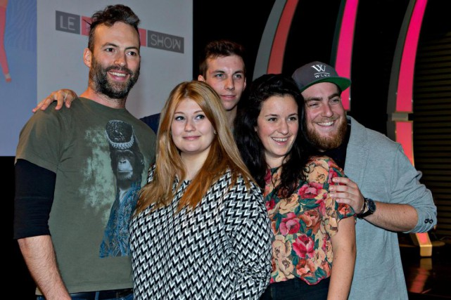 La distribution du Nouveau show : Mathieu Quesnel, Katherine Levac,... (Photo Olivier Jean, archives La Presse)