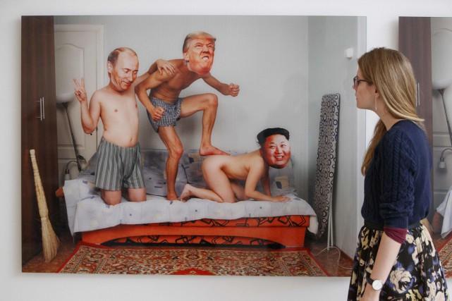 L'oeuvre Masks Show Series 2 par The Blue... (Photo AFP)