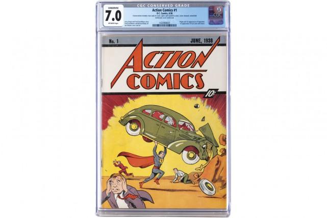 Un numéro d'une revue de bande dessinée datant de 1938 et mettant en vedette...
