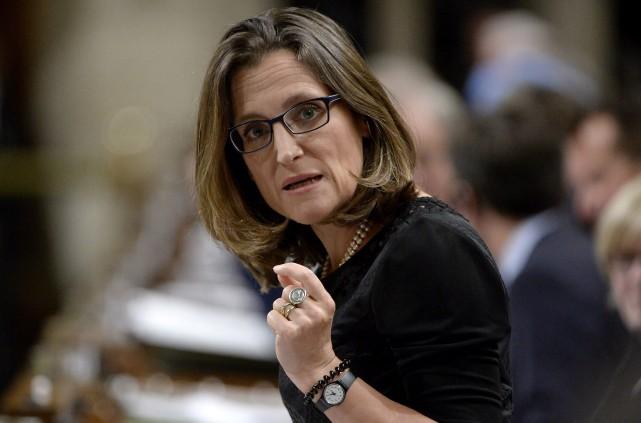 La ministre des Affaires étrangères du Canada, Chrystia... (Photo Adrian Wyld, PC)