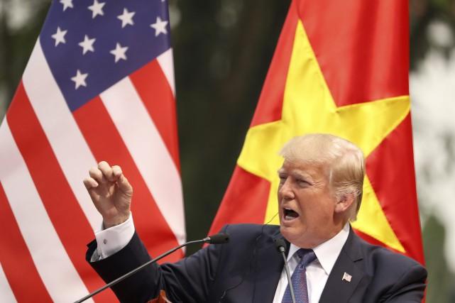 Le président américain Donald Trump lors de son... (PHOTO Andrew Harnik, AP)