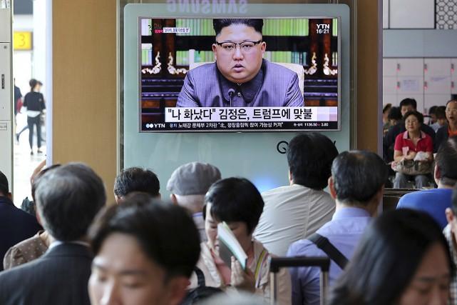 Kim Jong Un, lors d'un discours diffusé à... (Ahn Young-joon, archives AP)