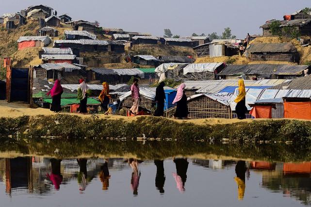 Un camp de réfugiés de Rohingyas, au Bangladesh.... (Munir UZ ZAMAN, AFP)