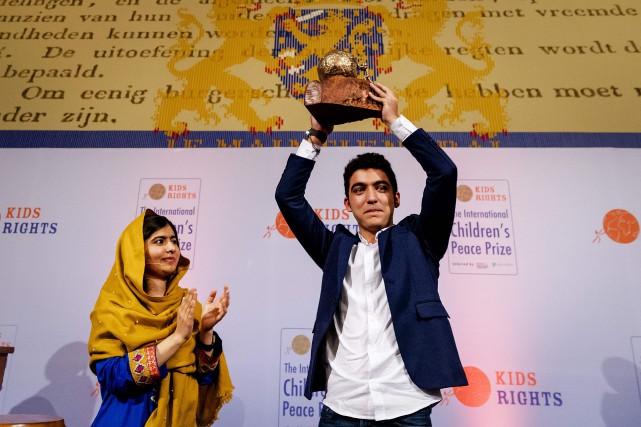 Malala Yousafzai etMohamad Al Jounde... (Photo Robin Van Lonkhuijsen, Agence France-Presse)
