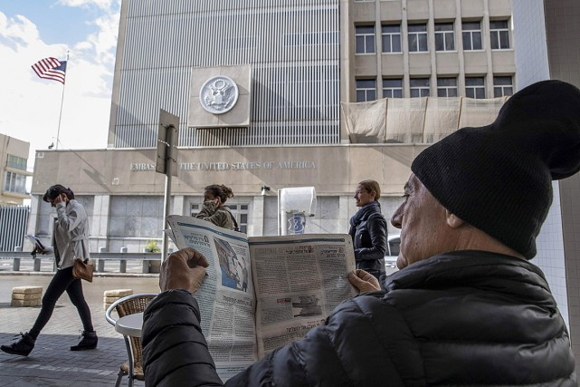 Sur cette photo, l'ambassade américaine à Tel Aviv.... (JACK GUEZ, AFP)