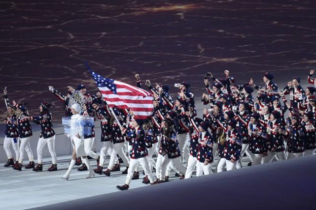 Les athlètes américains lors de la cérémonie d'ouverture... (Photo Jonathan Nackstrand, archives AFP)