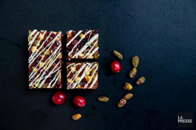 Barre caramel, pistaches et canneberge... (Photo Hugo-Sébastien Aubert, La Presse)