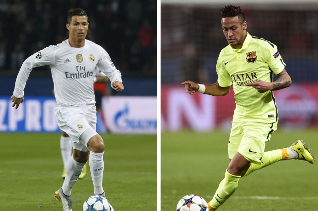 Cristiano Ronaldo, du Real Madrid, et Neymar, du Paris... (Photos AFP)