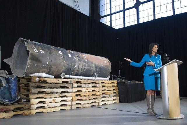 Nikki Haley s'exprimait sur une base militaire américaine,... (PHOTO AP)