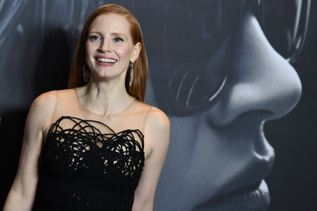 Jessica Chastain à la première de Molly's Game... (Photo AFP)