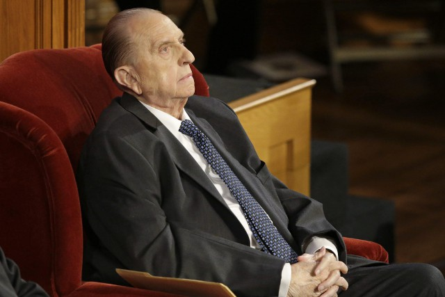 Thomas S. Monson à Salt Lake City en... (ARCHIVES AP)
