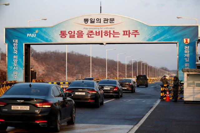 La délégation sud-coréenne s'est rendue en convoi sur... (PHOTO REUTERS)