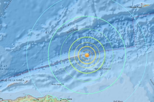 L'alerte sur une «menace» de vagues de tsunami... (IMAGE FOURNIE PAR LE UNITED STATES GEOLOGICAL SURVEY)
