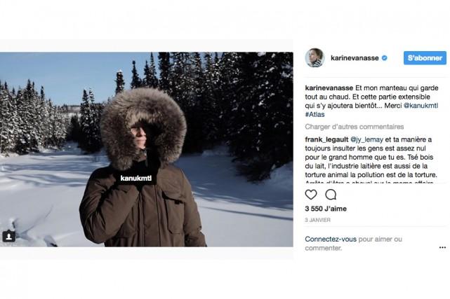 La comédienne Karine Vanasse a reçu un manteau... (image tirée de la page facebook de karine vanasse)