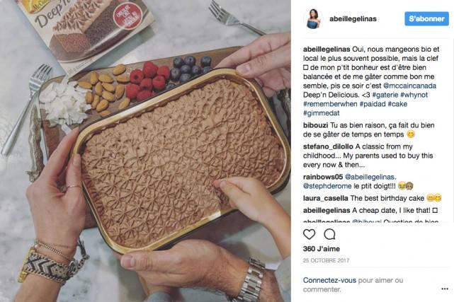 L'influenceuse Abeille Gélinas a ajouté #paidad pour indiquer... (image tirée du compte instagram d'Abeille Gélinas)