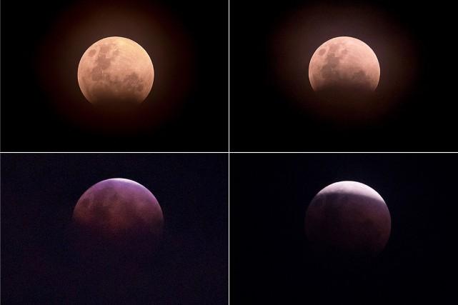 La «Super Lune bleue de sang», telle qu'apparue... (BAY ISMOYO, AFP)