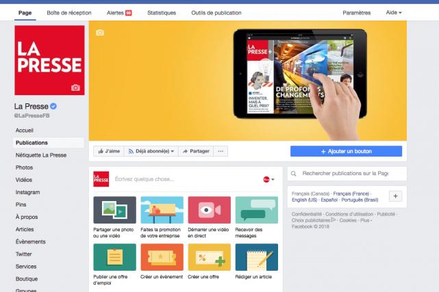 L'accueil de la page Facebook de La Presse... (Capture d'écran)