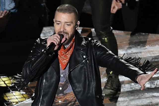 Justin Timberlake lors de sa prestation au Super... (Photo AFP)