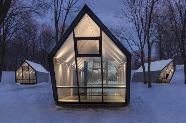 Les trois kiosques ont des formes similaires, mais... (Photo Fany Ducharme, fournie par l'Atelier Urban Face)