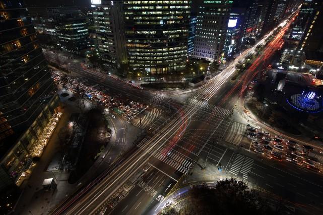 À l'heure de pointe, Gangnam a la réputation... (Photo archives Bloomberg)