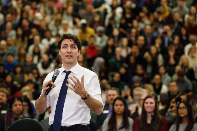 Vendredi dernier, en Alberta, Justin Trudeau a interrompu... (Photo Jason Franson, La Presse canadienne)
