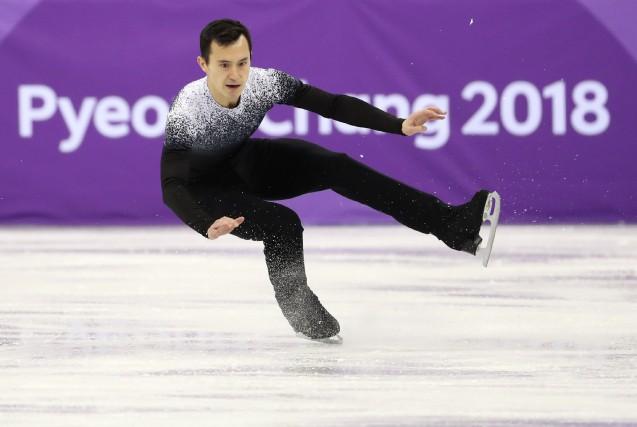 Patrick Chana chuté en tentant un quadruple boucle... (Photo Lucy Nicholson, REUTERS)
