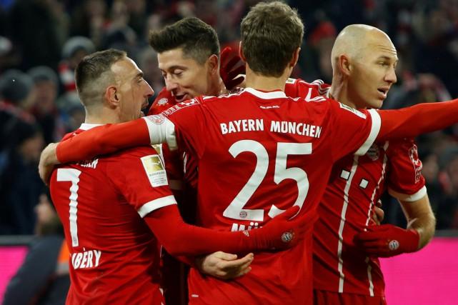 Franck Ribéry,Robert Lewandowski, Thomas Müller et Arjen Robben,... (Photo Michaela Rehle, Reuters)