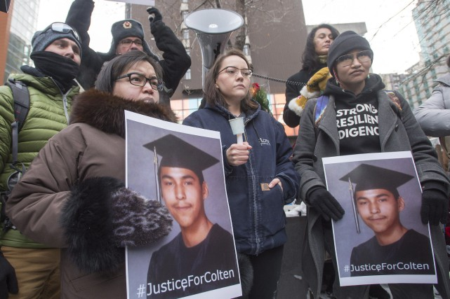 Rassemblement à Montréal pourColten Boushie, un jeune Cri... (Photo Ryan Remiorz, La Presse canadienne)