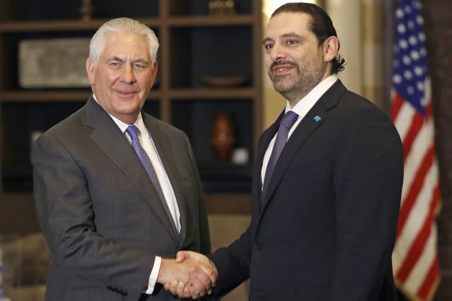 Rex Tillerson et le premier ministre libanais Saad... (Photo AP)