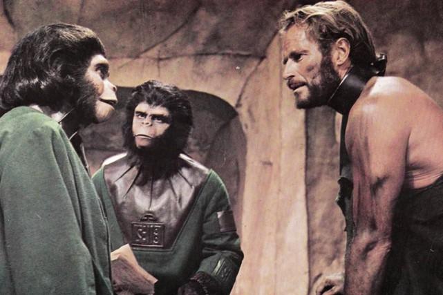 Charlton Heston, Kim Hunter, et Roddy McDowall dansLa... (Photo fournie parTwentieth Century Fox)