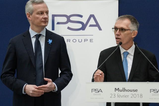 Le PDG de PSA Peugeot-Citroen, Carlos Tavares (à... (Photo : AFP)