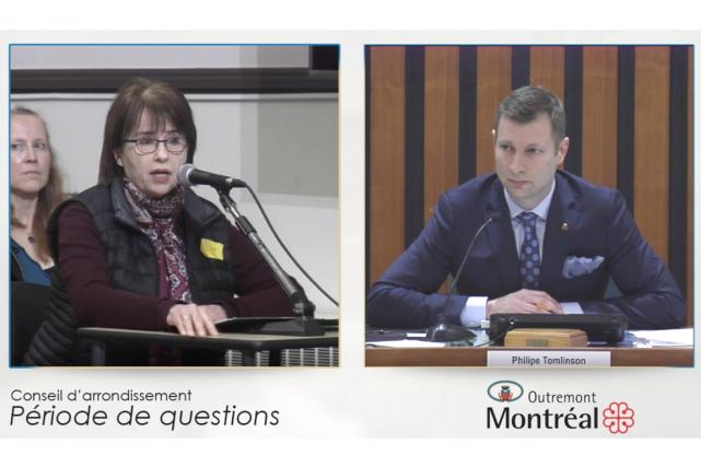 Ginette Chartre portait le carré jaune lors de... (Image tirée d'une vidéo)