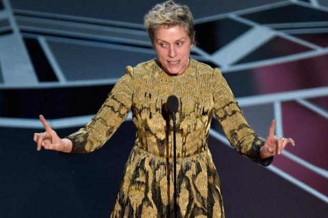 Frances McDormand, lors de son discours de remerciement... (Photo Chris Pizzello, Associated Press)