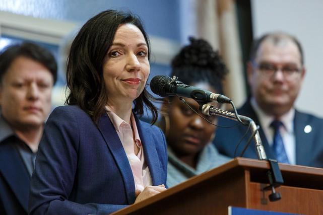 Martine Ouellet, chef du Bloc québécois, lors d'une... (PHOTO ULYSSE LEMERISE, COLLABORATION SPECIALE)