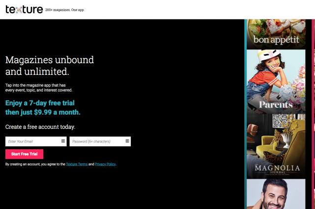 Le géant américain de l'informatique Apple rachète le service de magazine... (Photo tirée du site web de Texture)