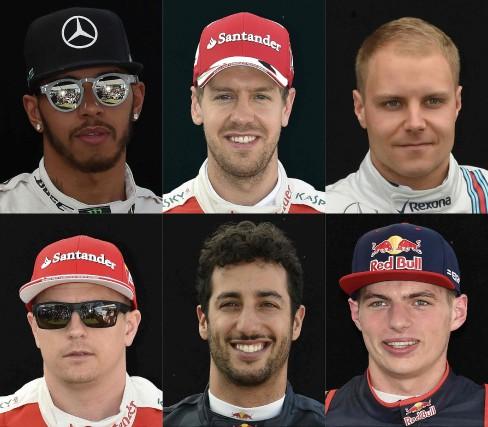 Les six meilleurs pilotes au classement 2017 du... (photos AFP)